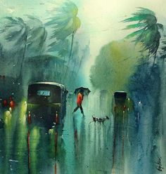 Nadeesh Prabou, famous young artist and his beautiful and amazing Watercolor painting