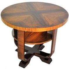 Art Deco Side Table Walnut Wood