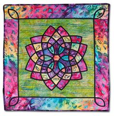 "Lift Every Voice and Sing, 25"" x 26"",  by Diane Larrier Collier. Machine appliquéd, machine quilted.  Artist statement:  ""I intended to create a tropical flower in Mary Ann Kotowski's Celtic Knot class. As the work progressed, however, the design appeared less floral and more like a church's stained glass window.""  Posted at Empire Quilters Guild"