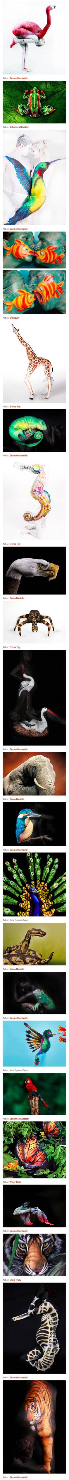 Many people feel an especially close connection with our animal brethren, which is probably a big part of why we find animal body art like this so appealing – these models, and the artists who paint on them, create a figurative representation of the relationship we share with all life.