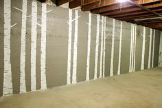 unfinished basement...DIY birch tree forest mural