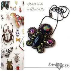 Beetle scarab pendant, colorful beadwork egyptian necklace, seed bead embroidery pendant, insect statement jewelry, multicolor butterfly by RebelSoulEK