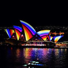 The illuminated Opera House during the Vivid Festival in Sydney Australia This years festival will run from May 24 - June 10 Perth, Brisbane, Melbourne, The Places Youll Go, Great Places, Places To See, Beautiful Places, Sydney Australia, Australia Travel