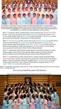 """50 of Warren Jeffs """"wives"""" named. The daughters and granddaughters of Merril Jessop are also highlighted. With thanks to: https://texasflds.wordpress.com/2011/08/07/all-warrens-wives"""