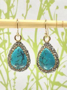 Turquoise EarringsTeardrop Earrings Pave by AngelWearDesigns2013