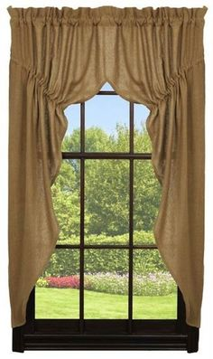 Deluxe Burlap Prairie Curtain - The Deluxe Burlap Collection is a soft, cotton woven burlap in a natural jute tan color. It differs from our regular burlap in that it is a 30% heavier cotton fabric, has reinforced satin stitching for more durability, and it is a slightly deeper tan color. It is longer lasting and a slightly higher quality. This is for the Pra...