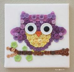 Repeat Crafter Me: Owl Button Art Kids Crafts, Owl Crafts, Cute Crafts, Crafts To Make, Craft Projects, Arts And Crafts, Craft Ideas, Easy Crafts, Project Ideas