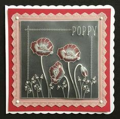 Poppy plate and Grid border on Black parchment  Groovi card created by Susan Moran