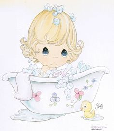 quenalbertini: Lovely girl at the bathtub Precious Moments Quotes, Precious Moments Coloring Pages, Precious Moments Figurines, Cute Images, Cute Pictures, Adult Coloring, Coloring Books, Baby Art, Digi Stamps