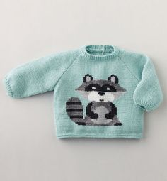 Phildar`s baby`s long sleeved Raccoon motif jumper knitting patterns Baby Knitting Patterns, Baby Sweater Knitting Pattern, Knitting For Kids, Crochet For Kids, Knitting Designs, Baby Patterns, Crochet Baby, Ravelry, Knitted Baby Outfits