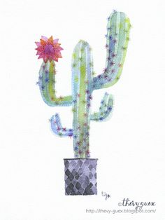 Watercolor Cactus Print/Botanical Art/Cactus by thevysherbarium, $19.00