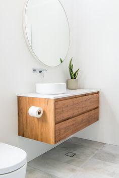Cessnock, Floating timber vanity - enough. Modern Bathrooms Interior, Floating Bathroom Vanities, Timber Vanity, Bathroom Faucets, Bathroom Mirror, Round Mirror Bathroom, Bathroom Interior, Small Bathroom, Beautiful Bathrooms