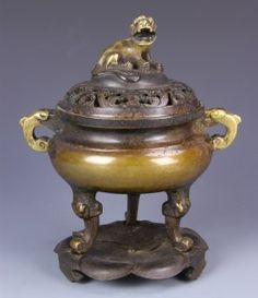 Chinese Bronze Censer With Base And Cover