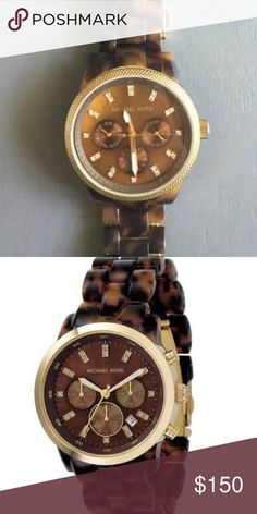 Micheal Kors Watch Tortoise Micheal Kors Watch with gorgeous gold jewels. I love this watch so much but i never wear it and i need an apple watch :( Willing to negotiate Michael Kors Jewelry Bracelets