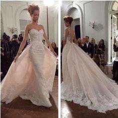 Arabian Detachable Skirt white camo Wedding Dresses Bridal Gown with Illusion 2015 New Ivory Lace Vestido de Novia Free Shipping