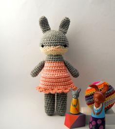 girl toy dolls children rabbit bunny crochet amigurumi plushie .. little tara .. toy. $30.00, via Etsy.