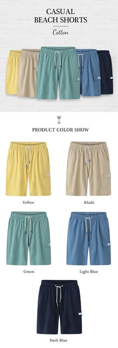 887856b1c Mens Cotton Elastic Waist Drawstring Solid Color Casual Beach Shorts Sport  Shorts is worthwhile and good-looking