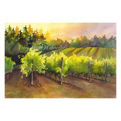 """""""Oswego Hills Winery"""" #Tracymoadwatercolors #vineyard #winery #oswego #hills #watercolor #painting"""