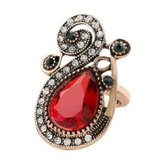 Hot Indian saree style red ruby crystal rhinestone statement fashion ring   #Jewelry #Statement #Rings #Women #Accessory