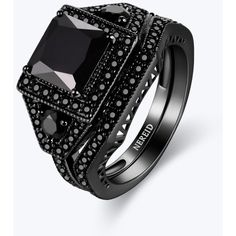 Full Black Diamond Stacking Ring ($33) ❤ liked on Polyvore featuring jewelry, rings, black diamond ring, stackable rings, stacking rings jewelry, black diamond jewelry and black diamond stackable ring