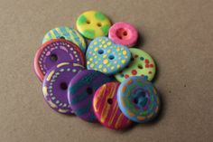 Painted Buttons Whimsical Hand Painted by EllieMarieDesigns