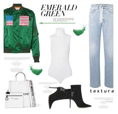 """""""Emerald City: Pops of Green"""" by lidia-solymosi ❤ liked on Polyvore featuring Facetasm, Wolford, Off-White, Gianvito Rossi, By Terry and emeraldgreen"""