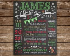 First Christmas Chalkboard sign Baby's 1st Christmas