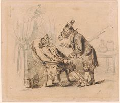 J. J. Grandville | A Donkey Physician Attending a Dog Patient | The Morgan Library & Museum