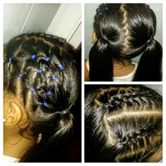 2 ponytail hairstyle with some elastics on one side and 3 braids on the other side (if you look closely i did a zig zag line to part her hair) follow me on instagram @infinityhairstyles8 ❤☺☺