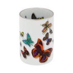 White porcleian deep dish colourful butterflies Butterfly deep butter dish