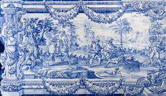 Panneau d'azulejos dans une église de Rio de Janeiro de l'époque coloniale portugaise (Eglise Nossa Senhora da Glória do Outeiro). Scène de chasse dans la sacristie.