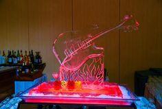 Turning Stone Ice Sculpture - Guitar Martini Luge