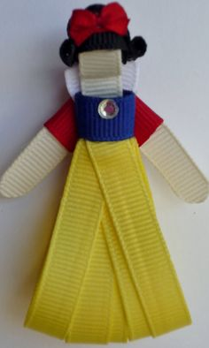 Snow White Hairclip Ribbon Sculpture by TakeABowHandcrafts on Etsy, $8.50