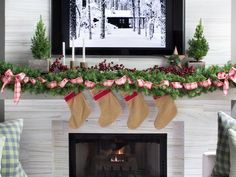Rustic style #holiday mantel>> http://www.hgtv.com/handmade/one-mantel-styled-three-ways-for-the-holidays/pictures/page-6.html?soc=pinterest