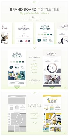Brand Boards // Style Tiles for Your Logo/Brand - VOL 3 / 10 easy to edit, fully customisable Brand Board / Style Tile templates, created in both Photoshop & Illustrator and optimised for use in Blog Posts, Pinterest or you can print them out for face-to-face meetings too! #brandboard #moodboards #logodesign