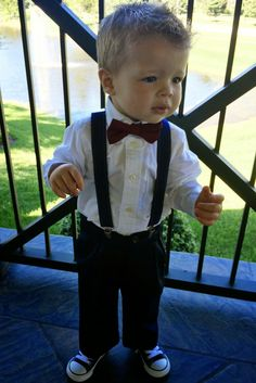 ed8dbd68a74 Marsala Bow Tie and Navy Blue Suspender Set -- PERFECT for Ring Bearer or  Page Boy Outfit