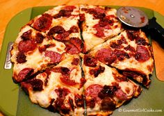 Gourmet Girl Cooks: Friday Night Low Carb Pizza - Salami, Roasted Tomato & Cheese