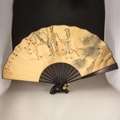 Chinese Xuan Paper Painting Fan w Zitan Wood Fram