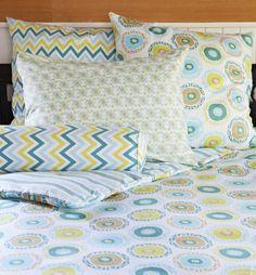 blue, lime & turquoise Suzani bedding