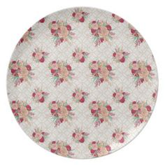 Flowers Pattern Plate - spring wedding diy marriage customize personalize couple idea individuel