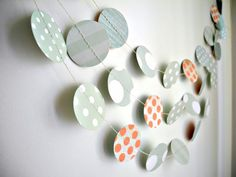 Mint polka dots garland, mint pastel circles garland, mint coral party decor, mint baby shower, birthday mint garland, nursery decor garland...