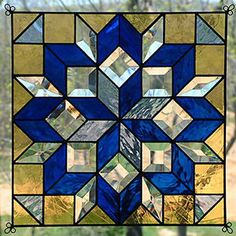 Very precise and Stained Glass Blue Carpenters Wheel Quilt 1205 Stained Glass Quilt, Making Stained Glass, Stained Glass Designs, Stained Glass Panels, Stained Glass Projects, Stained Glass Patterns, Leaded Glass, Mosaic Glass, Beveled Glass