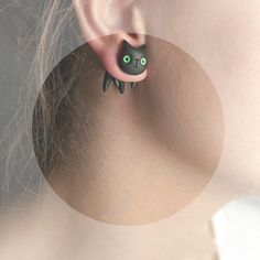 Black Cat -  green summer cat fashion - hand painted polymer clay one stud earring fake rusteam