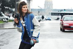 Tommy Ton Shoots the Street-Style Scene at the Fall 2012 Shows Tommy Ton, Musical Grease, Parisienne Chic, Pretty Little Liars, Isabel Marant, Alexander Wang, Cheerleaders, Tweed, Varsity Jacket Outfit
