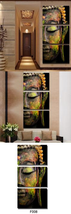 Top Fashion Handmade Modern Buddha Head Oil Painting On Canvas Buddha Religion Wall Art Canvas Painting Home Decoration Murals $68.97