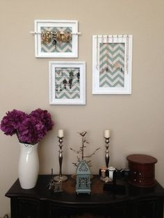 you can create your own hanging accesories for easy doing just get an old frame,then a hook..presto.. you have it