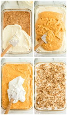 Instead of pumpkin pie, try this easy pumpkin delight recipe instead! A homemade pecan and graham cracker mix forms a delicious crust that is topped with three layers of light and fluffy filling -- including cream cheese, pumpkin, pudding and Cool Whip. Thanksgiving Desserts, Fall Desserts, Sweet Desserts, Delicious Desserts, Dessert Recipes, Thanksgiving Lunch, Candy Recipes, Dessert Ideas, Dinner Recipes