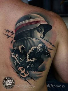 Mixing realistic art with creative effects, A.D Pancho creates painterly colorful tattoos that'll make you want to get inked. Patriotische Tattoos, Polish Tattoos, Best Sleeve Tattoos, Badass Tattoos, Life Tattoos, Tattos, Unique Tattoos For Men, Cool Tattoos For Guys, Tattoo Ideas