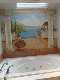 Estimate for masterbath wall murals, hand painted murals, Pittsburgh muralist, Custom Murals, Mast Painting Wallpaper, Mural Painting, Wall Wallpaper, Paintings, Ceiling Murals, Mural Wall Art, Bathroom Mural, Artist Wall, Hand Painted Walls