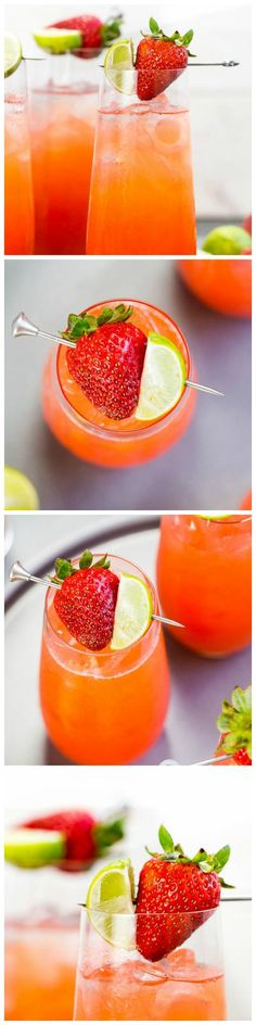 Strawberry Key-Limeade Cocktail - A Refreshing & Effervescent way to Celebrate Spring & Start Your Weekend!